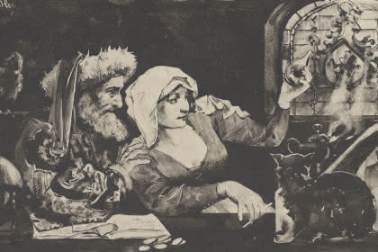 Jacques de Lichtenberg et la belle Barbara d'Ottenheim, Charles Spindler, 1893-94. Photo et coll. BNU Strasbourg