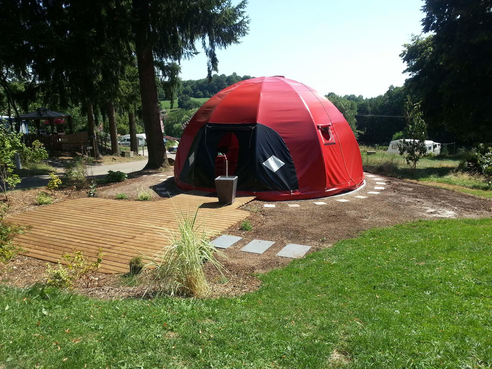 Tentes coccinelles wigwam, Camping Heidenkopf, Niederbronn-les-Bains, Alsace
