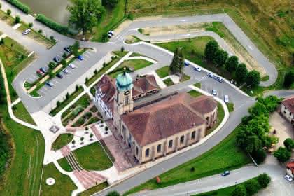 Vue aérienne de la Basilique de Thierenbach Crédit: Vincent Schneider