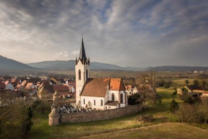Le cimetière fortifié de Hartmannswiller vue d'ensemble aérienne Crédit: Vincent Schneider